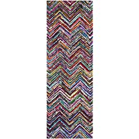 Safavieh Nantucket Collection NAN311A Handmade Abstract Chevron Multicolored Cotton Runner Rug (23 x 9)