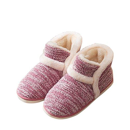 Agowoo Plush Fuzzy Dormitorio Zapatillas De Casa Botas Para Mujer Rojo