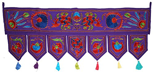 Navya Creations Indian 39 x 14 Inch Purple Embroidered Door Hanging Toran Window Valance Decorative Throw