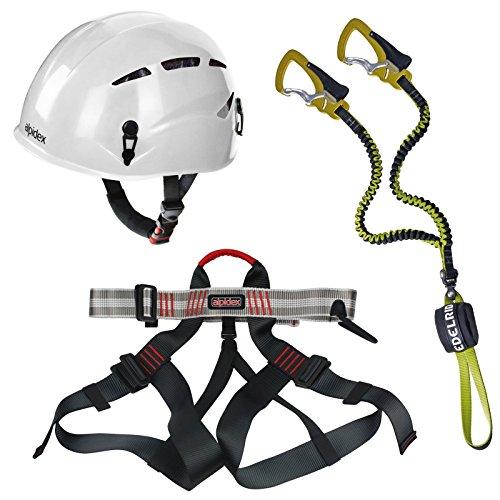 Alpidex Kletterhelm ARGALI bright white + Alpidex Klettergurt TAIPAN red pepper + Edelrid Klettersteigset Cable Comfort 2.3