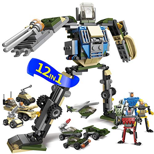 12in1 Robot Car Blocks Building Bricks - Military Stem Assembly Egg Toy - transform Deformation Model - Educational Action Figure Kit Set - Best Gift for Boys Girls Age 6-7-8-9-10-11-12 Year Old Kids