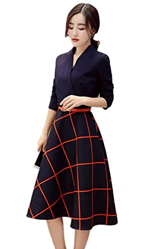 Angcoco Womens Long Sleeve V-neck Casual Slim Tunic Plaids A-Line Shirt Dress