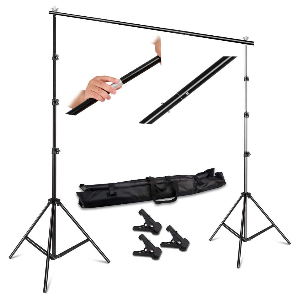 SH 2.6 X 3M Adjustable Background Stand Background Support Kit Removable with Carry Bag for Hanging Background Cloth by SH