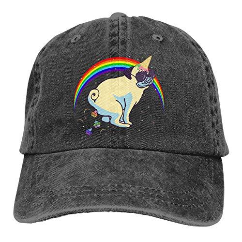 (Polka Dot Funny Unicorn Pug Rainbow Adjustable Baseball Cap Denim Cap Cotton Dad Hat Black)