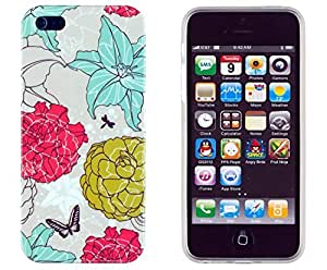 Vintage Floral Flexible TPU Case with Clear Sides for Apple iPhone 5S & iPhone 5 [Retail Packaging by Sunshine Case]