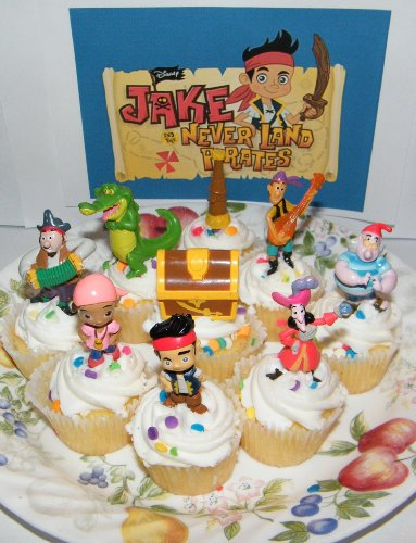 Disney Jake and the Never Land Pirates Figure Cake Toppers / Cupcake Party Favor Decorations Set of 9 by Jake & The Neverland Pirates