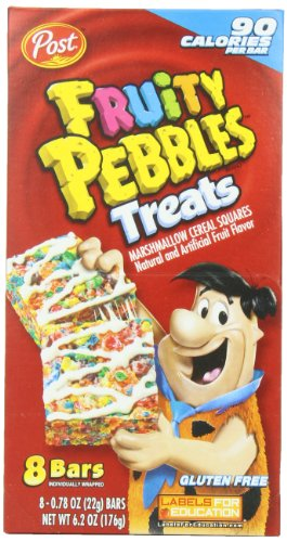 Post Fruity Pebbles Treats, 8-Count Treats (Pack of