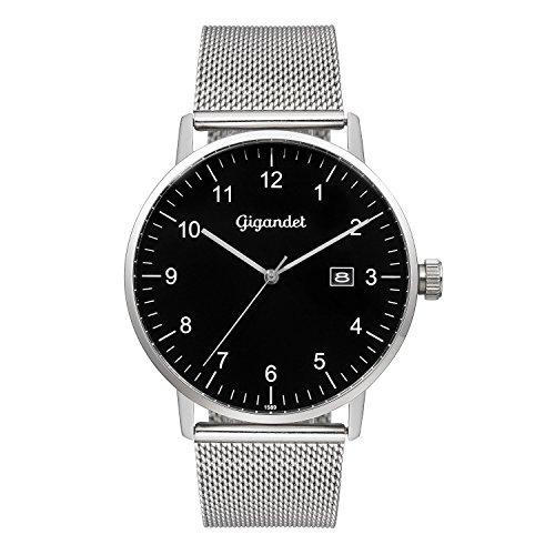 Gigandet Men's Quartz Watch Minimalism Analog Stainless Steel Bracelet Silver Black G26-006