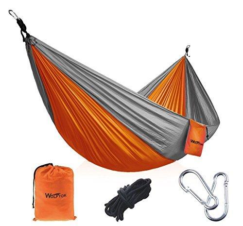 Amazon #LightningDeal 80% claimed: Portable Outdoor Hammocks [3rd Generation]Wolfyok(TM) Multifunctional Lightweight Nylon Parachute Travel Camping Hammock,Blue/Brown