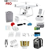 DJI Phantom 4 PRO Quadcopter Drone with 1-inch 20MP 4K Camera KIT + SanDisk Extreme 32GB Micro SDXC Card + Card Reader 3.0 + Snap on Prop Guards + Charging Hub + Range Extender + Harness + Backpack
