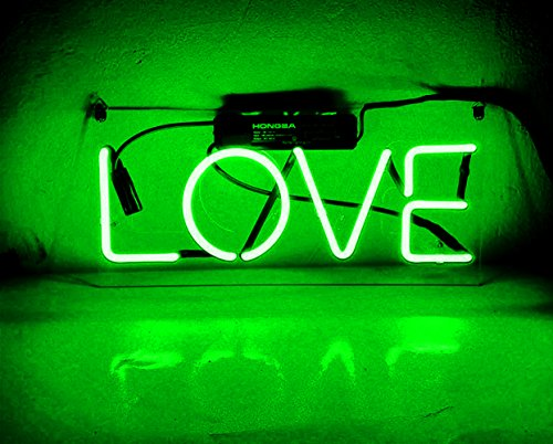 Night Light Lamp for Kids Girls Adults Babies Neon Light Sign Wall Decorative Lamp Glass Handmade for Home, Bedroom, Living Room, Hallway, Stairways, Garage, Windows, Beer, Bar - LOVE by Good Vibes Only
