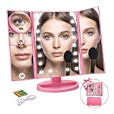 Ceenwes Makeup Mirror Trifold Vanity Mirror 180°Adjustable Touch Screen Cosmetic Mirror with 21 LED Lights Lighted Makeup Mirror with 4 Magnify 10/3/2/1X Mirror