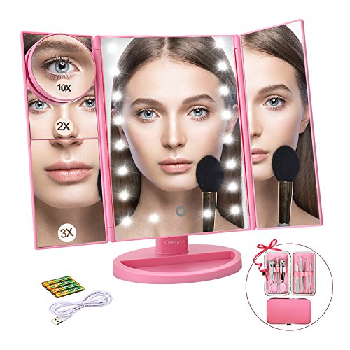 Ceenwes Makeup Mirror Trifold Vanity Mirror 180°Adjustable Touch Screen Cosmetic Mirror with 21 LED Lights Lighted Makeup Mirror with 4 Magnify 10/3/2/1X ()