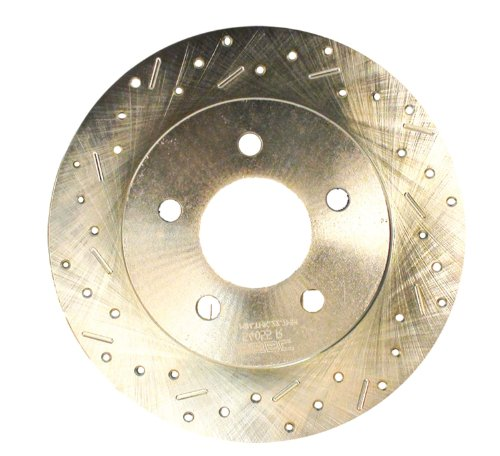 [SSBC 23075AA3L Drilled Slotted Plated Rear Driver Side Rotor for 1994-96 Impala SS] (Ss Only Slotted Rotors)