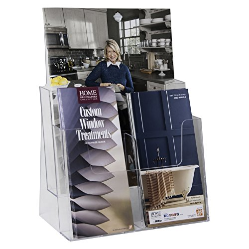 Clear-Ad - LHF-S82 - Acrylic 2 Tier Brochure Holder Organizer - Table Top or Wall Mount - 8.5 x 11 (Pack of 2)
