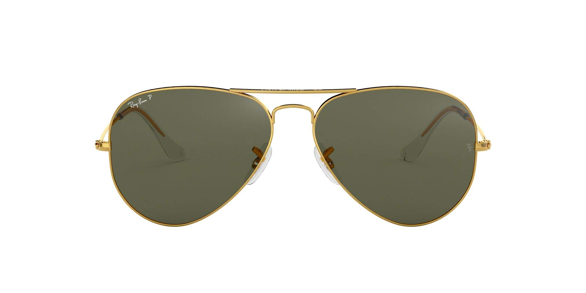 RAY-BAN RB3025 Aviator Large Metal Sunglasses, Gold/Dark Green Crystal, 55 mm by RAY-BAN