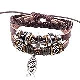 Jesus Alloy Fish Bracelet Cross Beaded Style 3 Row Braided Brown Leather Teens Adjustable Wristband