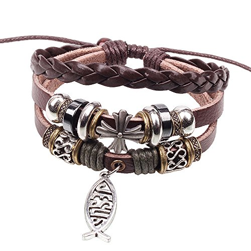 Jesus Alloy Fish Bracelet Cross Beaded Style 3 Row Braided Brown Leather Teens Adjustable (Sonic Refills Collection)