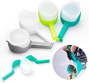 OceansBay Pouring Food Clips, Pack of 4 Food Storage Clips for Pour, Seal Pour Food Storage Bag Clip, Pouring Food Clip, Food Storage Clip with Spout, Clip & Pour for Storage Food Kitchen Tools