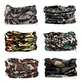 Kalily Pack of 6PCS Outdoor Scarf for ATV/UTV riding, Headband Bandana - Versatile 12-in-1 Lightweight Sports & Casual Headwear - Neck Gaiter, Balaclava, Helmet Liner, Face Mask (Camo)