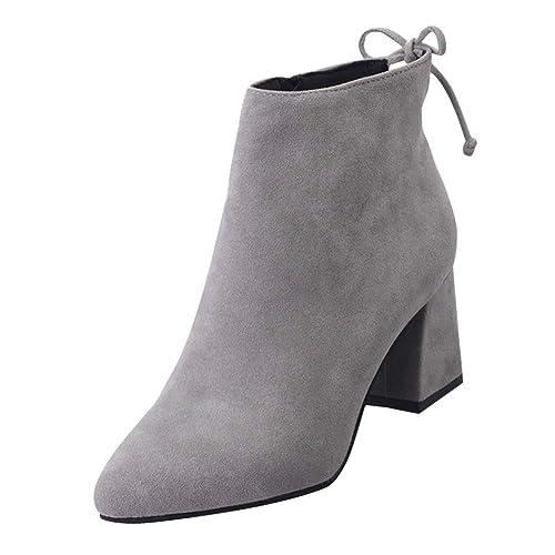 Gtagain Zapatos para Mujer Botas - Mujer Dedo del pie Puntiagudo Botines Cordones Gamuza Tacón Ancho Chelsea Casual Cómodo: Amazon.es: Zapatos y ...