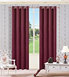 Cheap Wine Red Blackout Curtain Panel Sideli Thermal Insulated Solid Blackout Curtain Window Treatments Panels Grommets with Multi Size Multi Color (One Panel) (52″ Wx84 H, Wine Red)