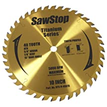 SawStop BTS-R-40ATB 40-Tooth Titanium Series Premium Woodworking Blade, 10-Inch with 5/8-Inch Arbor
