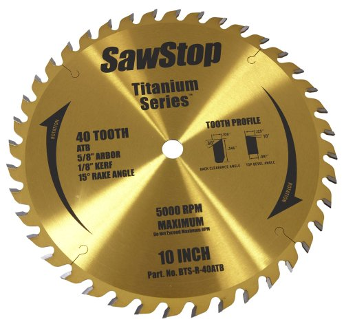 SawStop BTS-R-40ATB 40-Tooth Titanium Series Premium Woodworking Blade, 10-Inch with 5/8-Inch Arbor -
