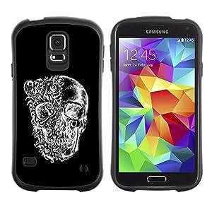 Suave TPU GEL Carcasa Funda Silicona Blando Estuche Caso de protección (para) Samsung Galaxy S5 / CECELL Phone case / / Skull Black White Floral Deep Meaning /