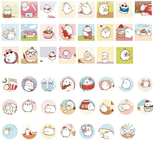 "2 Pack of 46 Pcs Lovely Cute ""Molang Rabbit"" Calendar Diary Book Envelope Label Sticker Scrapbook Decoration Sticker Photo #4"