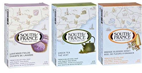 South Of France Natural Body Care Bar Soap 3 Fragrance Variety Bundle: (1) South Of France Lavender Fields, (1) South Of France Green Tea, and (1) South Of France Orange Blossom Honey, 6 Oz. ea.