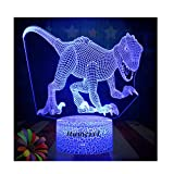 Dinosaur Night Lights for Kids Christmas Gift Birthday Indoraptor Toy 3D Illusion Lamp Dino Gifts for Boys Home Bedroom Party Supply Decoration 7 Color Blue Raptor Velociraptor (dino4)