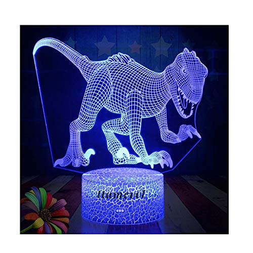 Dinosaur Night Lights for Kids Christmas Gift Birthday Indoraptor Toy 3D Illusion Lamp Dino Gifts for Boys Home Bedroom Party Supply Decoration 7 Color Blue Raptor Velociraptor (dino4) by LLAMEVOL