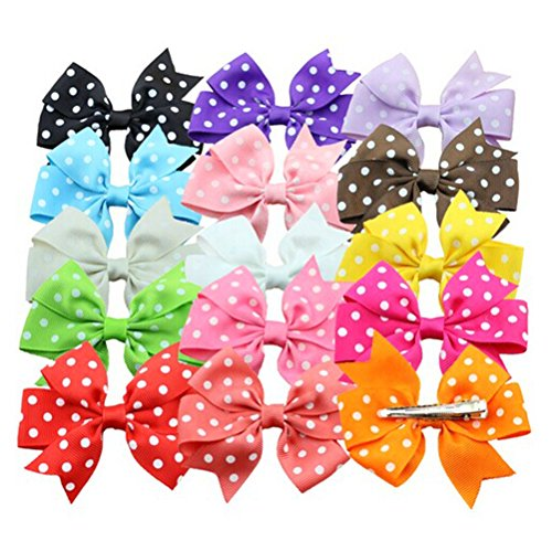 OULII Pack of 15 Colors Polka Dotted Bowknot Style Girls Kids Alligator Clip Grosgrain Ribbon Headbands Hair Clips