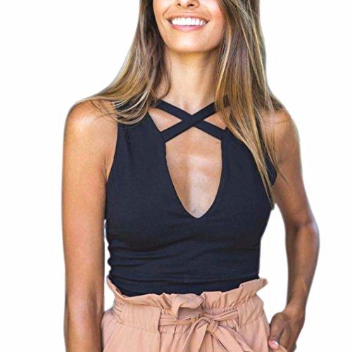 Women Bralette Tank, Misaky Tops Bustier Bra Vest Crop Top Sleeveless Blouse (L, Black)