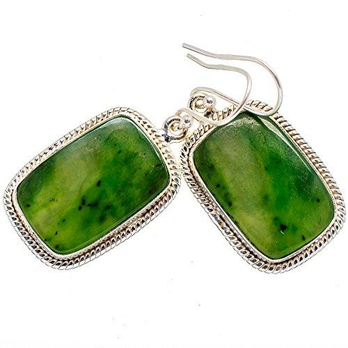 Nephrite Jade Earrings 1 3/4