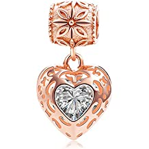 Rose Gold Heart Crystal Charms Pendant Solid 925 Sterling Silver Love Dangle Bead Valentines Day Charms