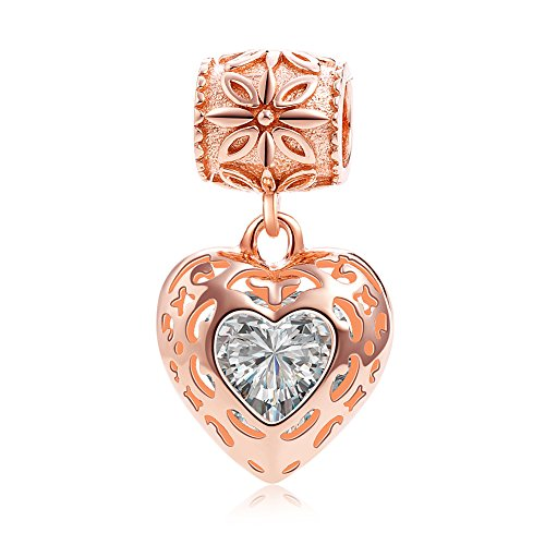 Rose Gold Heart Crystal Charms Pendant Solid 925 Sterling Silver Love Dangle Bead Valentines Day (Crystal Solid Heart)