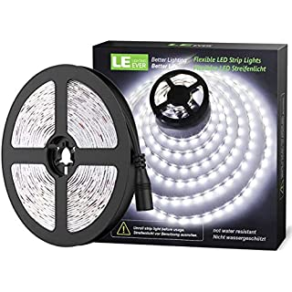 LE 12V LED Strip Light, Flexible, SMD 2835, 16.4ft Tape Light for Home, Kitchen, Party, Christmas and More, Non-Waterproof, Daylight White(No Power Adapter)