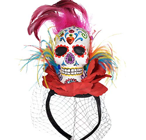 (Amscan 846148 Day of The Dead | Sugar Skull Couture Headband, Adult One Size,)