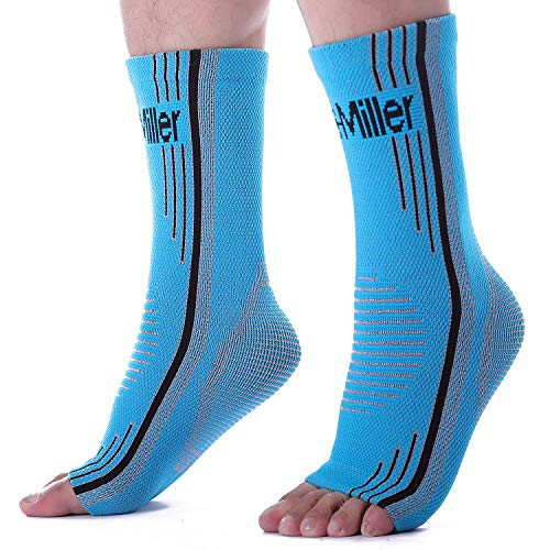 Doc Miller Premium Ankle Brace Compression Support Sleeve for Plantar Fasciitis Achilles Tendonitis Injury Recovery Joint Pain Swollen Feet Socks Foot Tendon Ligament Fractures (Solid Blue, Medium)