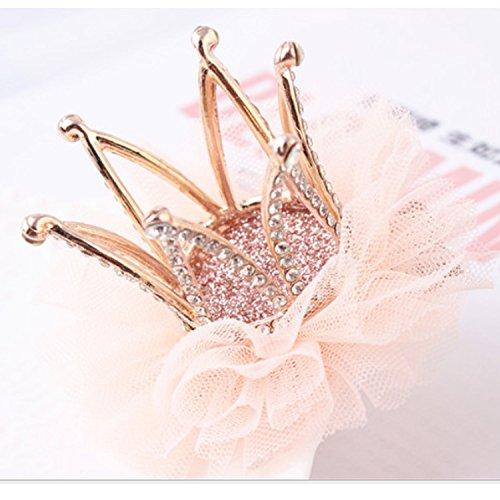 Girl's Diamond Crown Hair Pin Princess Flower Hair Clips Rhinestone Crystal Tiara Kids Party Hair Accessory (3) -
