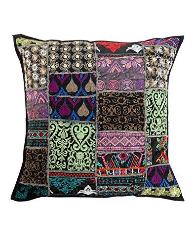 Indian Ethnic Black Throw Pillows Cotton Home Furnishing 18x