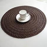 Placeamts Famibay Lot de 4sets de table ronds tissé antidérapant Sets Corde de chanvre résistant à la chaleur Tapis de table