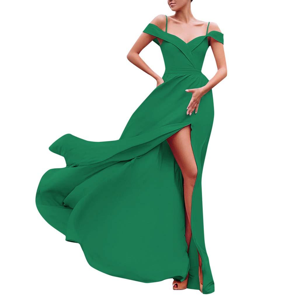 Women Formal Maxi Gowns - Holiday Sexy Sleeveless Summer Beach Evening Party Bridesmaid Dresses Split Long Dress