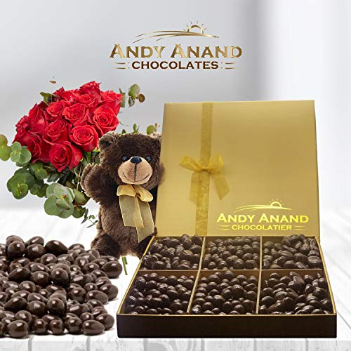 (Andy Anand's Chocolate covered 2 Pounds of Almonds and Blueberries & Plush Teddy Bear ,Birthday, Valentine Day, Gourmet Christmas Holiday Food Gifts, Thanksgiving, Halloween, Mothers day, Fathers)