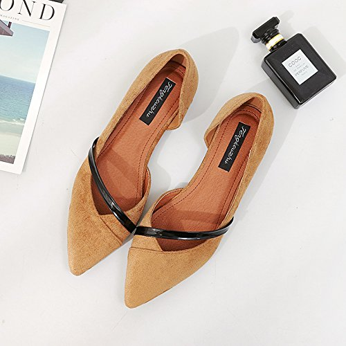 Xue Qiqi Court Schuhe Spitz Flache Schuhe Flachen Mund Seite Flach mit Wildleder Duuml;nnen Riemen Set Low-Heels Damen Sandalen  36|Khaki