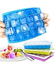 Silicone ice cube mold [3 pieces], 72-compartment ice cube mold With lid & clip Ice Tray Ice Cube, BPA-free, ice cube tray Ice cube tray for baby food, parties and bars
