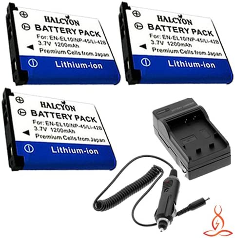 Three Halcyon 1200 mAH Lithium Ion Replacement Battery and Charger Kit for Olympus Stylus 850 SW 8 MP Digital Camera and Olympus LI-42B
