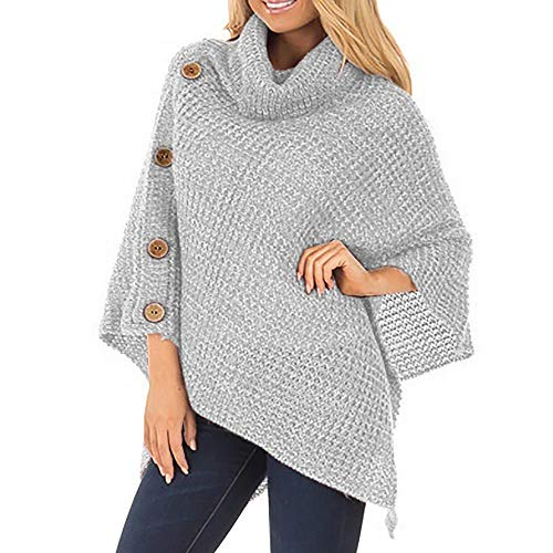 Women's Pullover Poncho Sweater Pullover Turtleneck Cape Lightweight Knit Jumper with Buttons Dressy Sweaters Tassel Hem Tops Grey S ()